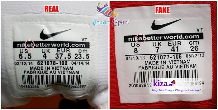 Phân biệt Giày Nike qua tem giày