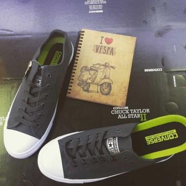 Giày converse chuck taylor 2 màu xám cổ thấp sdf