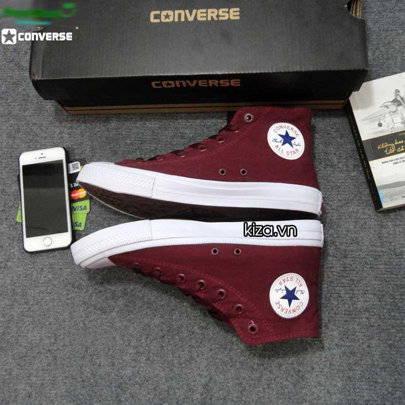 Giày converse chuck taylor 2 màu đỏ mận cổ cao2