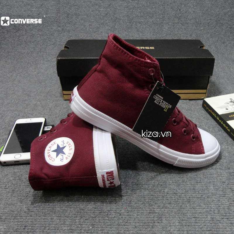 Giày converse chuck taylor 2 màu đỏ mận cổ cao 1