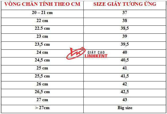 Xác định size bằng cách đo vòng chân