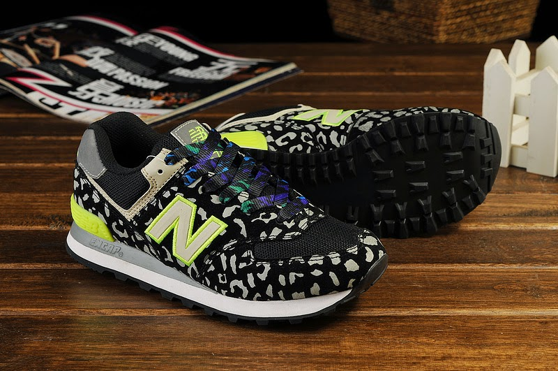 Authentic New Balance 574 Women Black Yellow Running Shoes Outlet Online