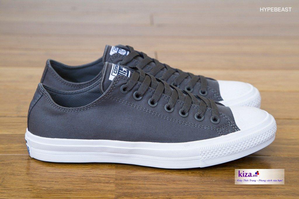 giày Converse Chuck II cổ thấp màu xám (ghi)