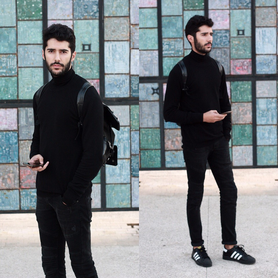Phối Áo len + quần jean + giày Adidas nam cực chất