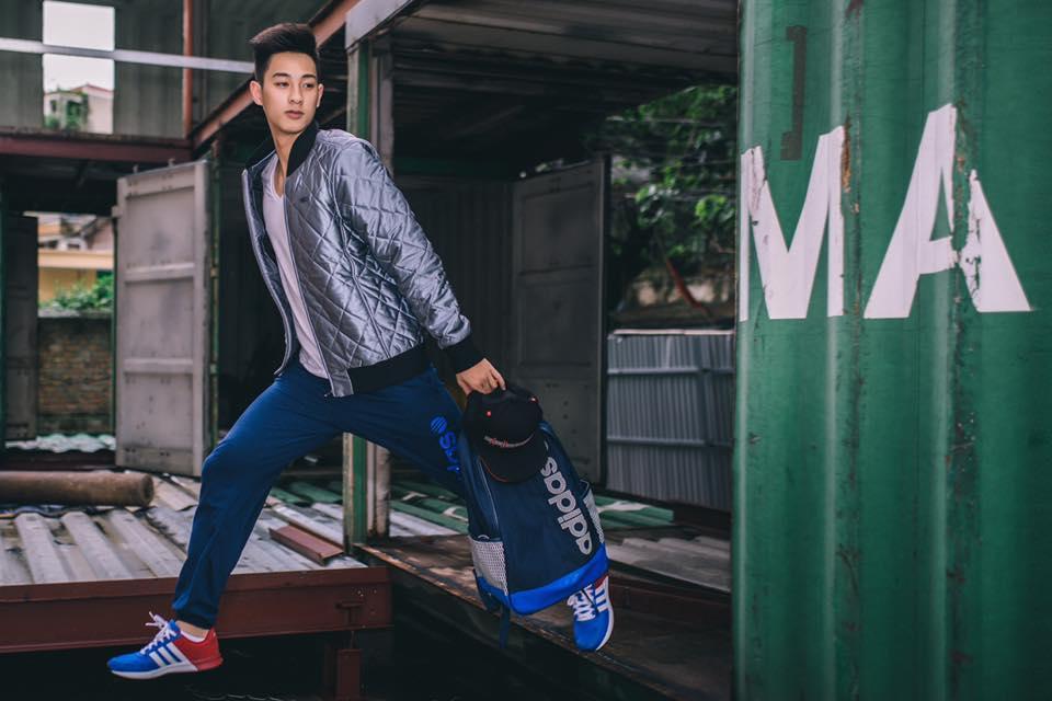 Phối Áo phông + áo khoác + quần jogger + giày thể thao Adidas