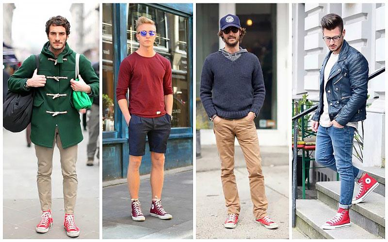 kết hợp quần áo với giày converse cao cổ (converse màu đỏ)