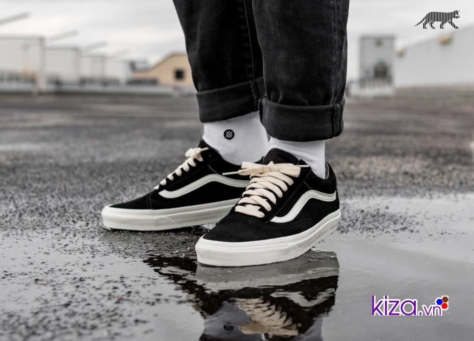 Giày vans old skool da đen sọc trắng