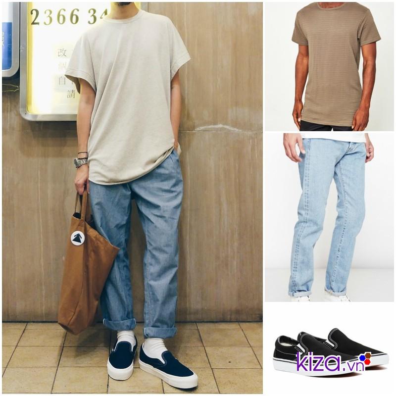 Phối đồ với Giày vans nam slip on + áo phông + quần baggy jean