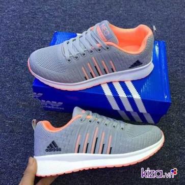 Giày Adidas NEO ké sọc màu xám cam  001