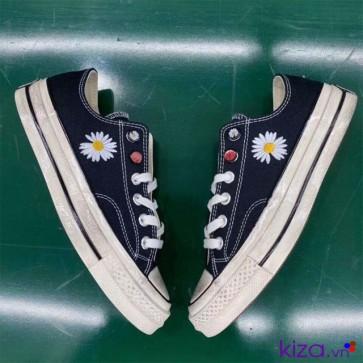 Giày converse hoa cúc đế bẩn cổ thấp