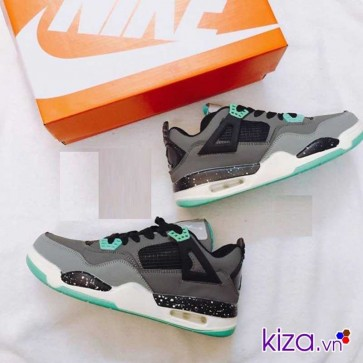 Giày Nike Jordan 4 phối màu xám trắng xanh