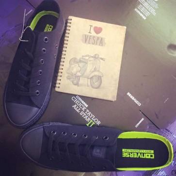 Giày converse chuck 2 màu đen tuyền cổ thấp