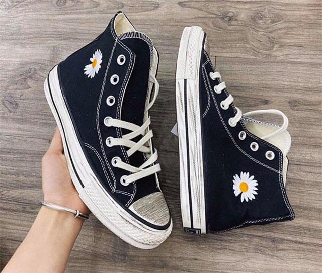Converse hoa cúc đế bẩn cổ cao