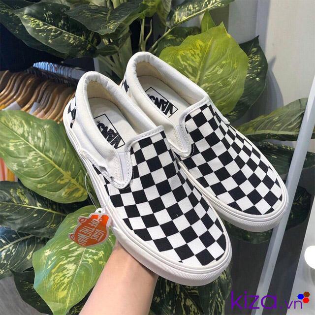 Giày vans lười kẻ caro