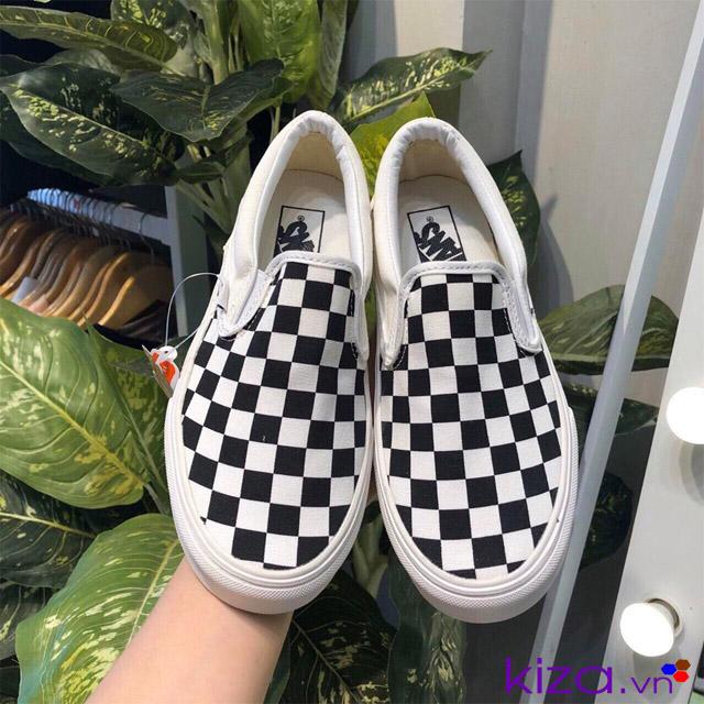 Giày vans lười slip on caro đen trắng