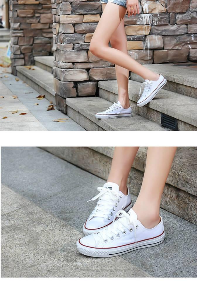 giày converse classic màu trắng thấp cổ cho nữ