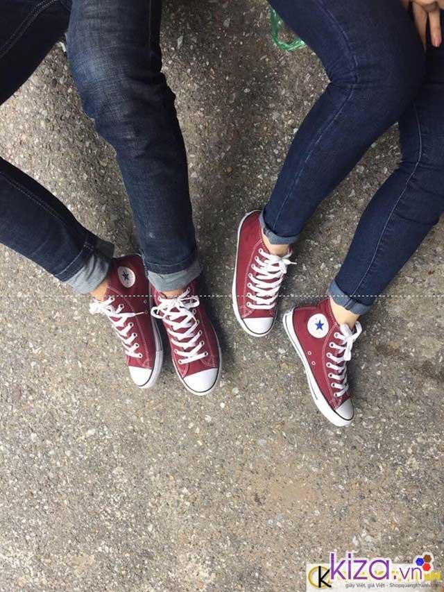 Giày converse màu đỏ mận cổ thấp giá rẻ
