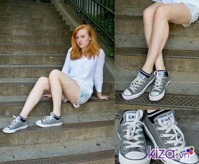mua giày converse màu xám cổ ngắn nữ