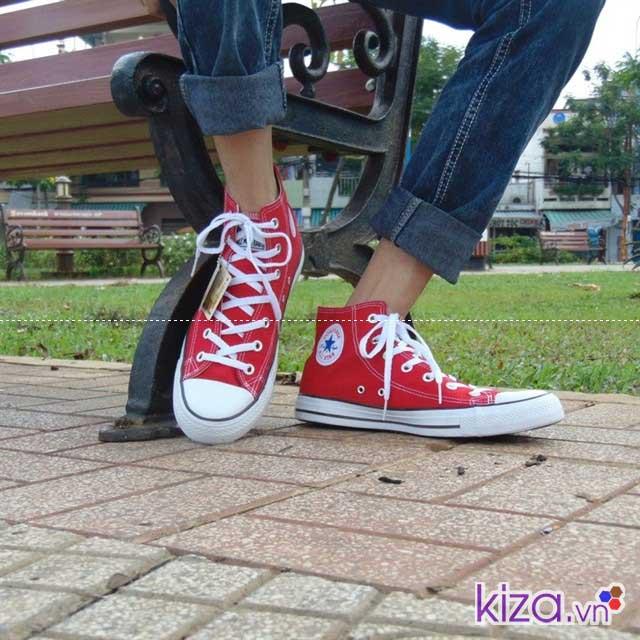 Mua giày converse đẹp giá rẻ màu đỏ cao cổ hàng việt nam
