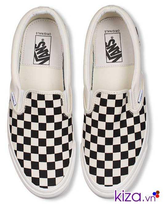 Giày Vans lười caro phối màu đen trắng 4