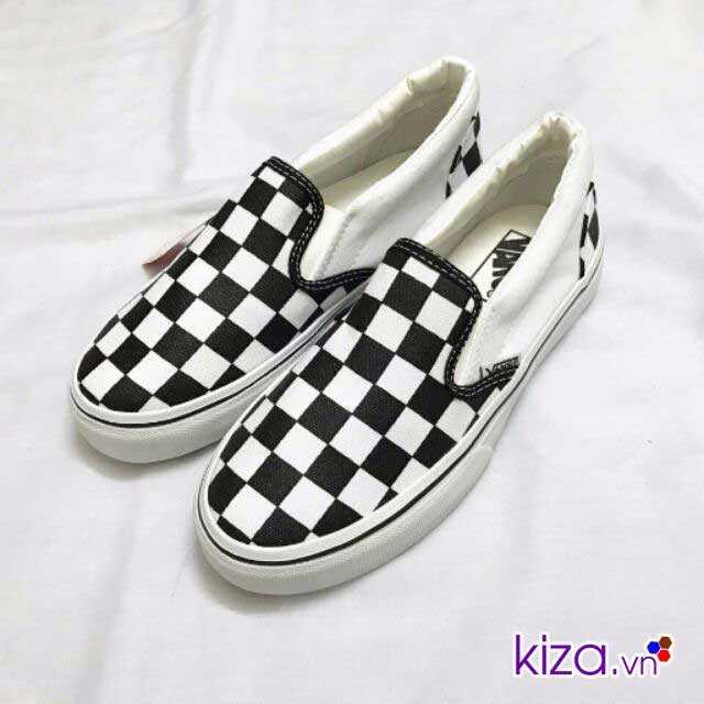Giày Vans lười caro phối màu đen trắng 4345