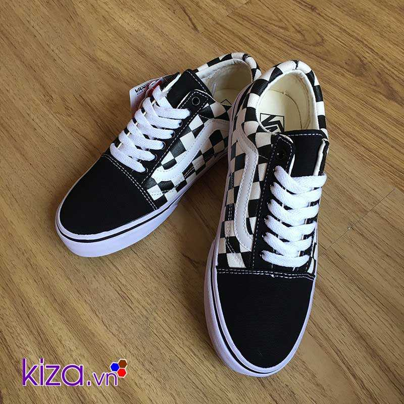 Giày Vans Old Skool phối màu caro trắng đẹp