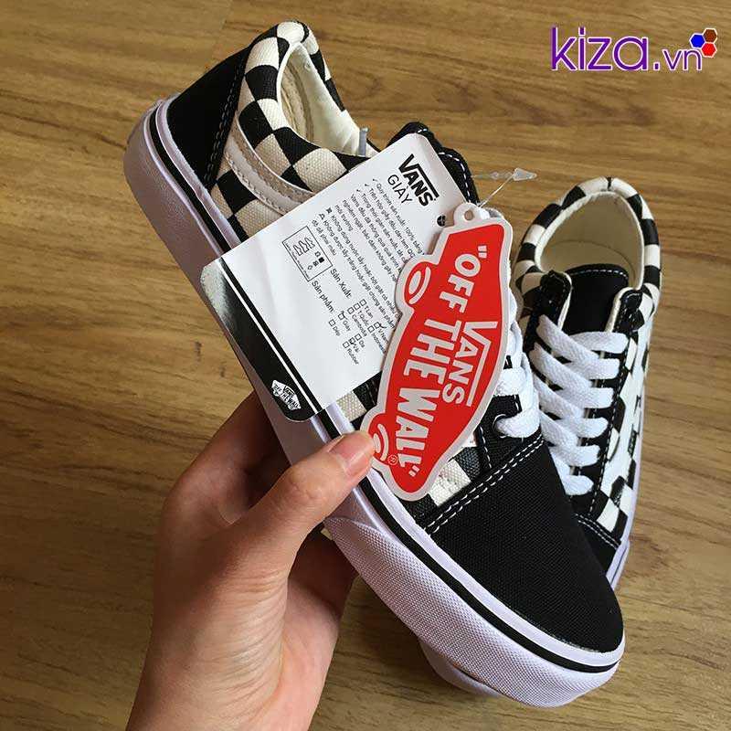 Giày Vans Old Skool phối màu caro trắng đen3